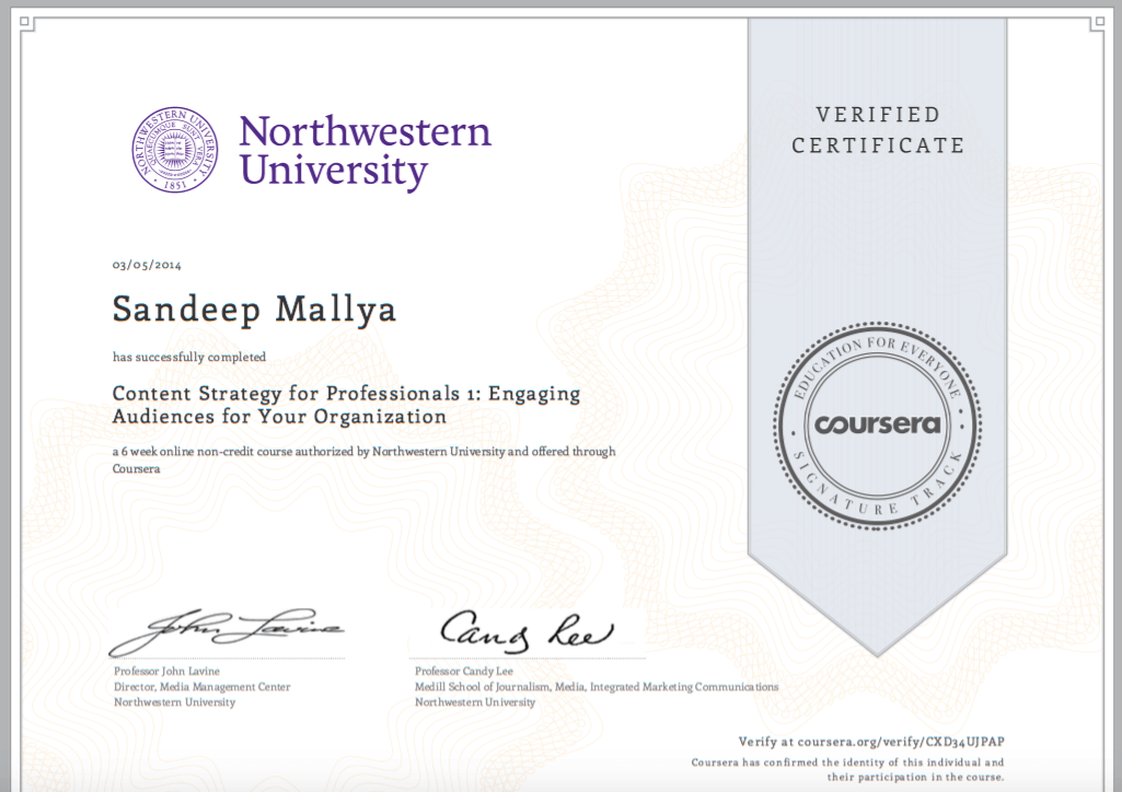 Northwestern University Content Strategy Certificate