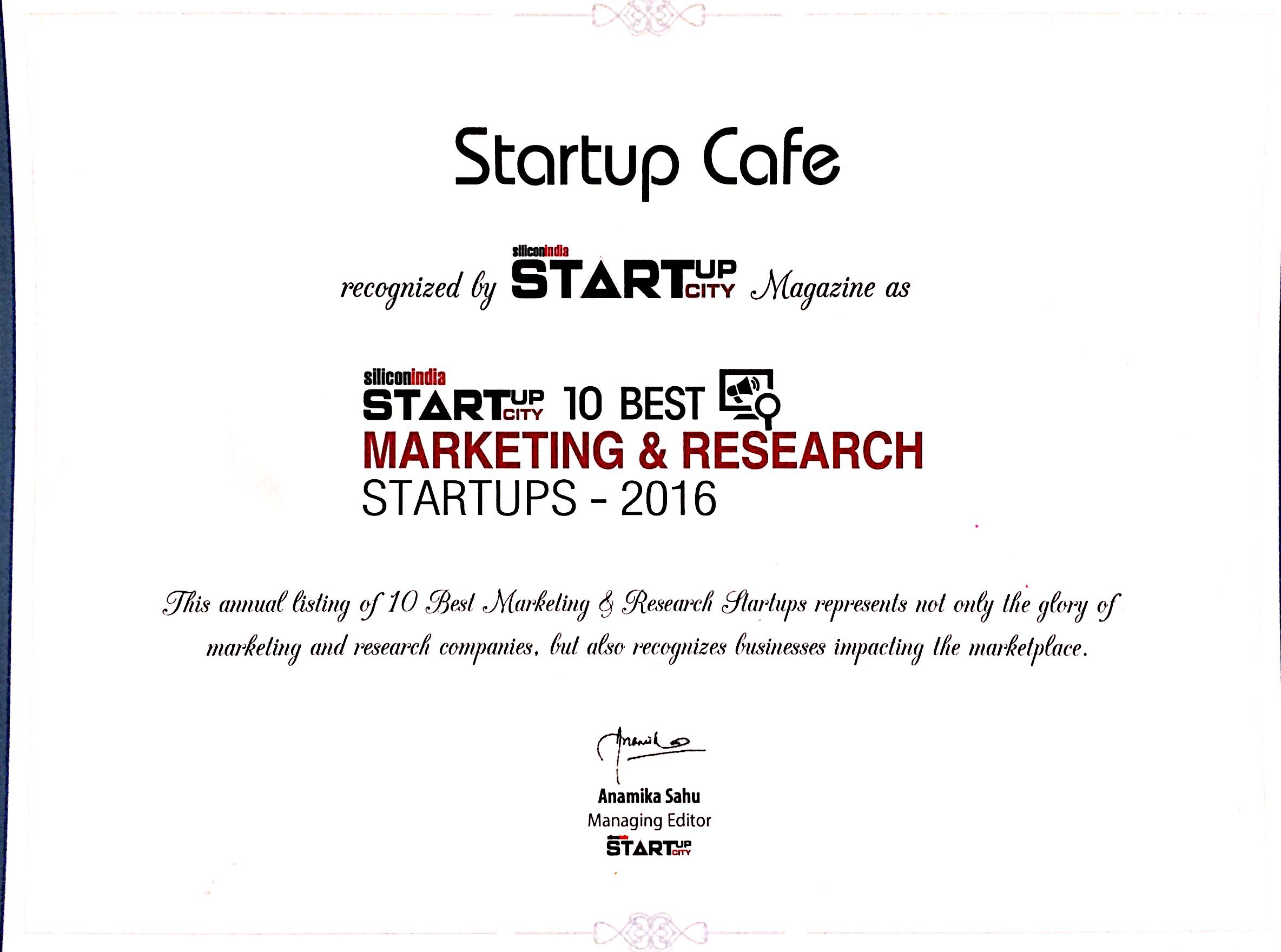 Startup Cafe Digital - Silicon India Certificate