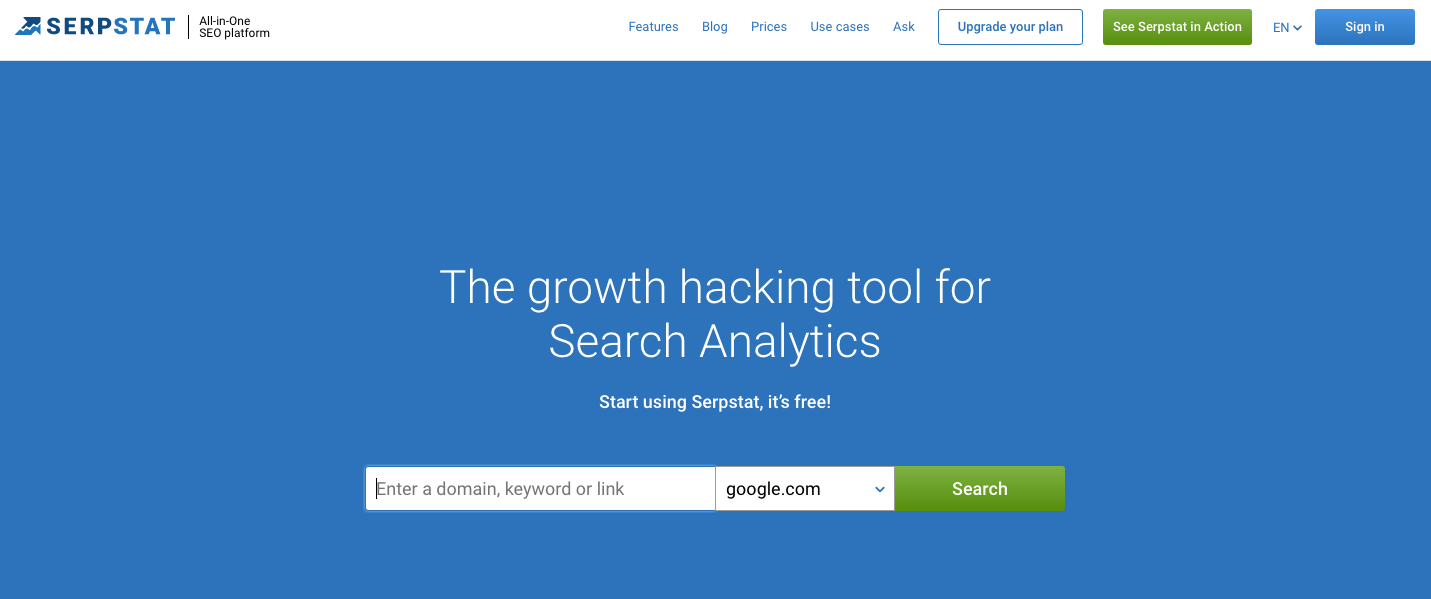 Best SEO Tools for Startups - Serpstat