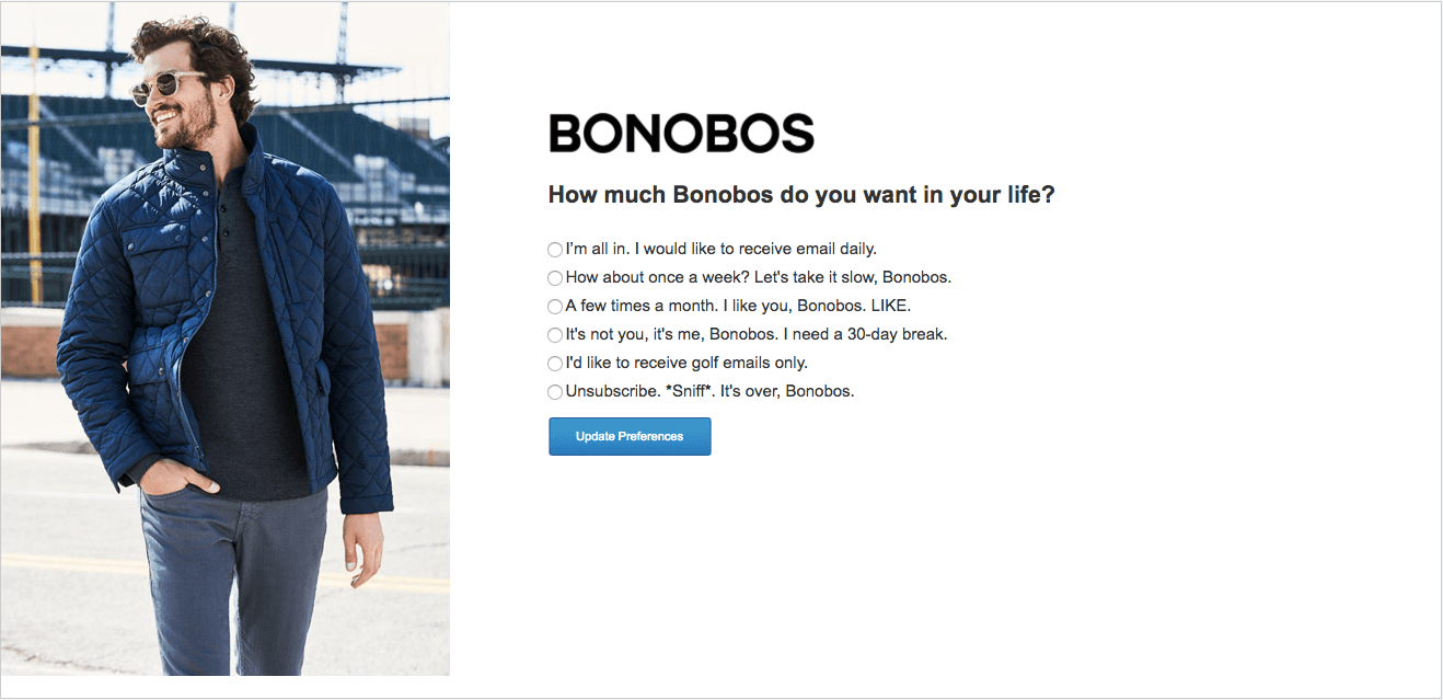 Bonobos - Creative Unsubscribe Pages