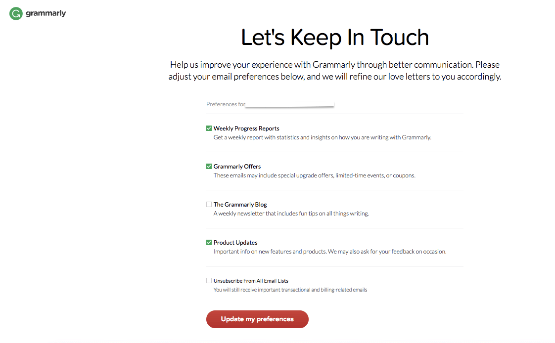 Grammarly Unsubscribe Page - Creative Unsubscribe Pages