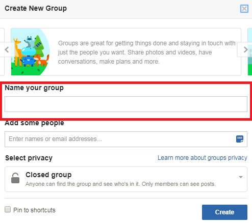 Create New Group Window